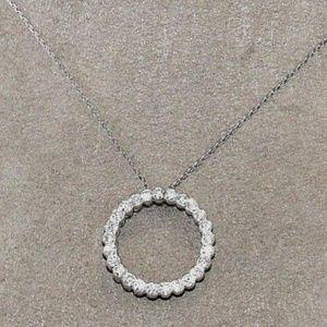 Jewelry - Diamond Open Circle Necklace Pendant 18K WG .80Ct